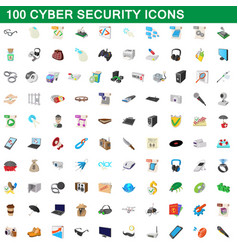 100 cyber security icons set cartoon style vector image