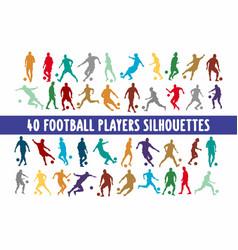 20 footbal players silhouettes various design set vector