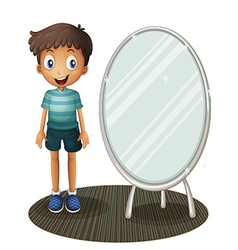 A boy standing beside the mirror vector image