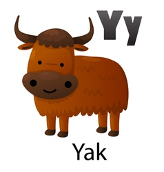 Alphabet Y with yak vector