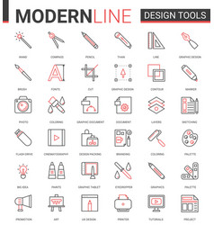 art design tool flat thin red black line icons vector image
