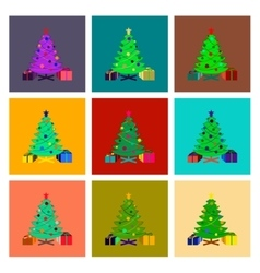 Assembly flat Christmas Tree gifts vector