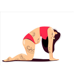 Attractive plus size young tattooed woman doing vector