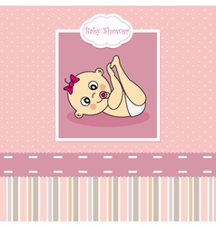 Baby girl birth Greeting Card vector image