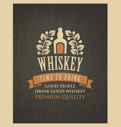 banner with a bottle of whiskey in retro style vector image
