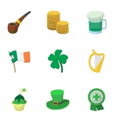 Beer festival Saint Patrick day icons set vector image vector image