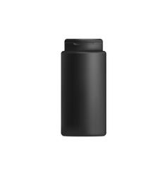 Black shampoo or shower gel jar bottle mockup vector