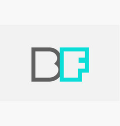 Blue grey alphabet letter bf b f combination for vector