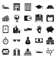 borrowing icons set simple style vector image