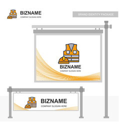 Business bill board design with labour jacket logo vector