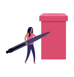 Business woman with ballot box and pen vector
