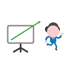 businessman character running with sales chart vector image