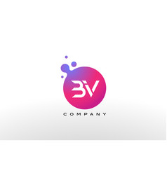 bv letter dots logo design with creative trendy vector image