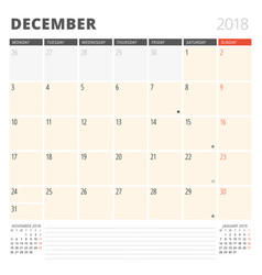 Calendar planner for december 2018 design vector