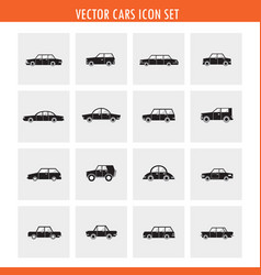 car icon set in black and white minimalistic vector image