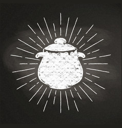 Chalk silhoutte of a boiling pot with sun rays vector