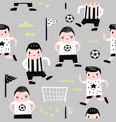 childish seamless pattern with boy football player vector image