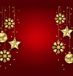 christmas background with golden balls stars and vector image