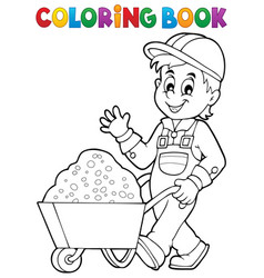 coloring book construction worker 1 vector image