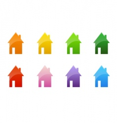 coloured cottages vector image vector image