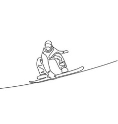 continuous one line drawing snowboarder vector image