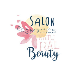 cosmetic salon natural beauty logo label for vector image