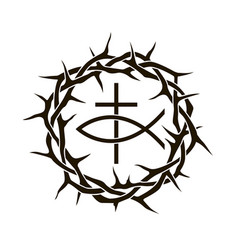 Crown thorns with fish vector