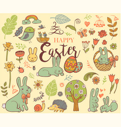 cute easter symbols vector image