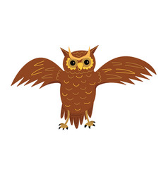 Cute owl spreads its wings cartoon vector