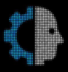 Cyborg head halftone icon vector