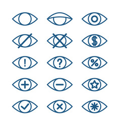 Different eye icons set of eye pictograms vector