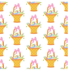 easter basket with eggs seamless pattern vector image vector image