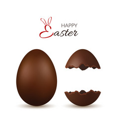 Easter egg 3d chocolate brown whole and broken vector