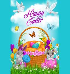 Easter egg hunt basket bunnies and flowers vector