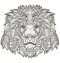 entangle stylized cartoon head a lion vector image
