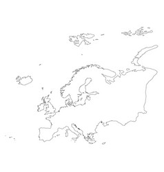 Europe thin black outline map contour map of vector