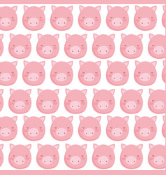 Farm pig faces decoration textile background vector