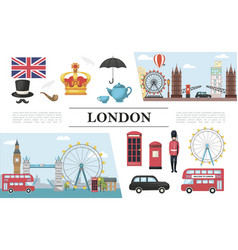 flat london elements composition vector image