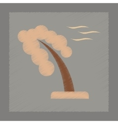 Flat shading style icon strong wind tree vector