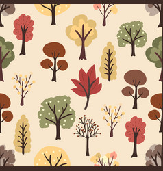 flat style autumn trees on yellow background vector image