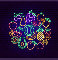 fruit neon concept vector image