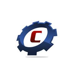 gear logo letter c vector image
