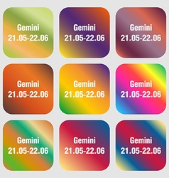 Gemini sign icon Nine buttons with bright vector image