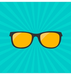 Glasses with yellow lens Sunburst background vector