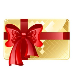 Gold card with a red ribbon vector