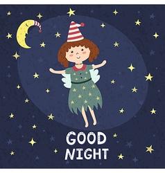 Good night card with a cute fairy vector