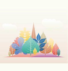 gradation landscape fantasy background fall trees vector image
