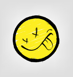 Graffiti emoticon smiling face painted spray vector