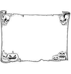 Halloween frame old scroll sheet with skulls and vector