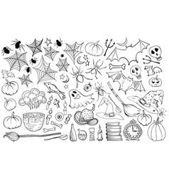halloween hand drawn icons set vector image